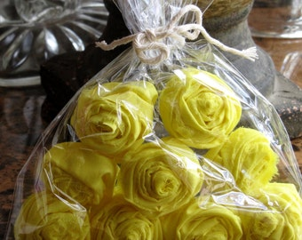 Handmade Yellow Fabric Flowers