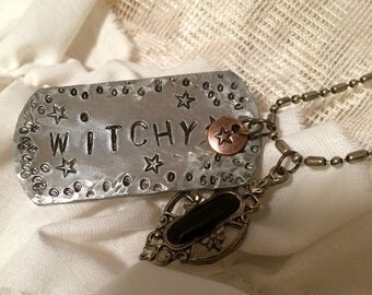 Rustic Witchy, Hand Stamped Silver and Copper Metal Necklace with Antique Charm