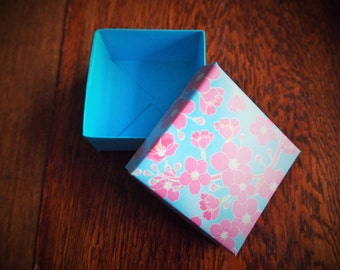 Blue and pink cherry blossom origami gift box with lid--for Christmas gifts, birthday presents, trinkets, organisation, jewellery