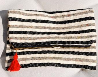 Upcycled Zipper Clutch   Striped Clutch