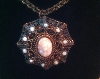 1950's Vintage Copper and Goldstone Agate Pendant