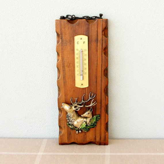 Vintage wooden thermometer German thermometer with deer couple Buck and doe Christmas Holiday decor Collectible Weather instrument Woodland