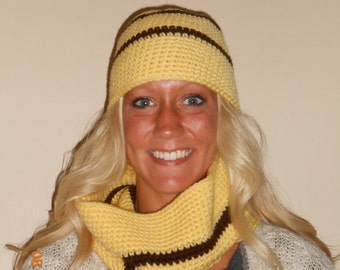 SALE  Crocheted hat and infinity scarf set