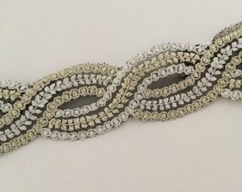 Adult woven lace headband | Boho headband | Black and Ivory headband