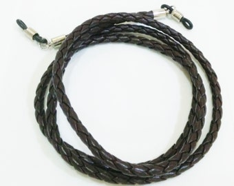 Dark brown plait glasses strap
