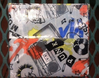Punk music and black duct tape bi-fold wallet