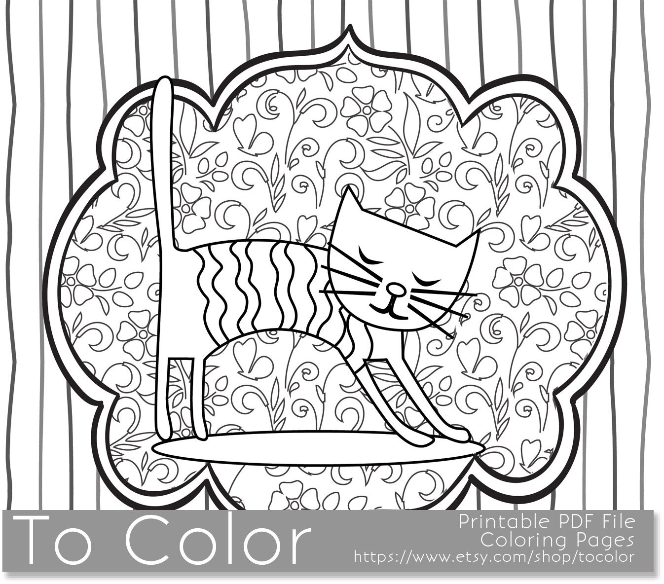 Printable Whimsical Cat Coloring Page For Adults PDF / By