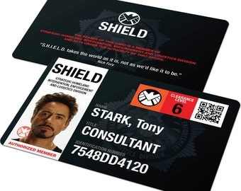 Custom ID Card Badge: Avengers Agents of Shield, Capt America, Hulk, Iron Man, Black Widow, Cosplay, Costume Birthday Christmas Gift, Marvel