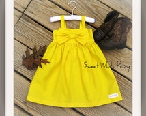 Yellow big bow dress, girls yellow simple dress, summer flower girls dresses, rustic weddings,newborn coming home outfit, multiple colors