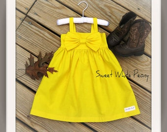 Yellow big bow dress, girls yellow simple dress, fall flower girls dresses, rustic weddings, newborn coming home outfit, multiple colors