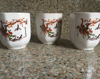 Vintage Japanese tea cups, set of 3