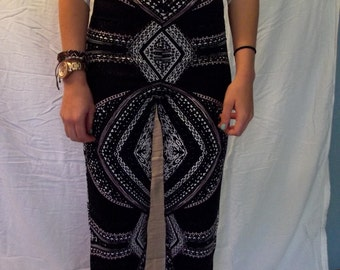 Black Patterned Flowy Pants
