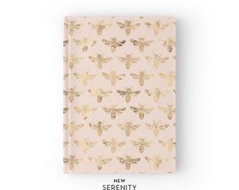 Hardcover Journal / Hardcover Notebook - Honey Bee, Bee Pattern, Pink, Gift for Her, NewSerenityStudio