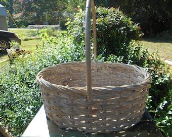 Large Wicker Basket, Large Basket, Vintage Basket, Wicker Basket, Magazine Basket, Vintage Wicker, Vintage Home Decor