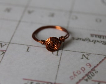 Handmade swirl wire wrapped ring.