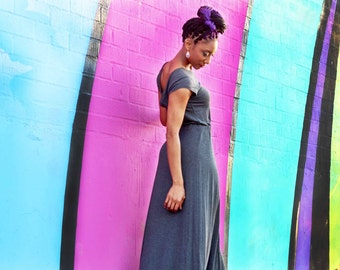 Chic Dress / Charcoal / Maxi Low Back Jersey Dress / Short Sleeve/ Beautiful Long Flowing / Summer Dress