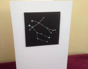 Rhinestone Zodiac Star Sign Birthday Card - Gemini