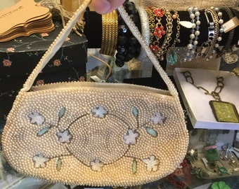 Beaded floral evening bag