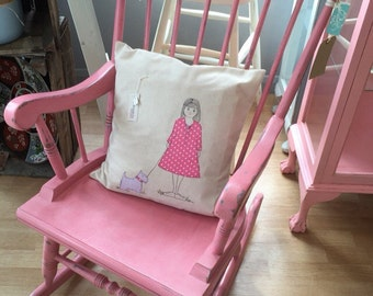 PRETTY PINK PAINTED Rocking Chair // Pink Rocking Chair // Vintage Wooden Rocking Chair // Girls Rocking Chair // Girls Chair // Girls Room