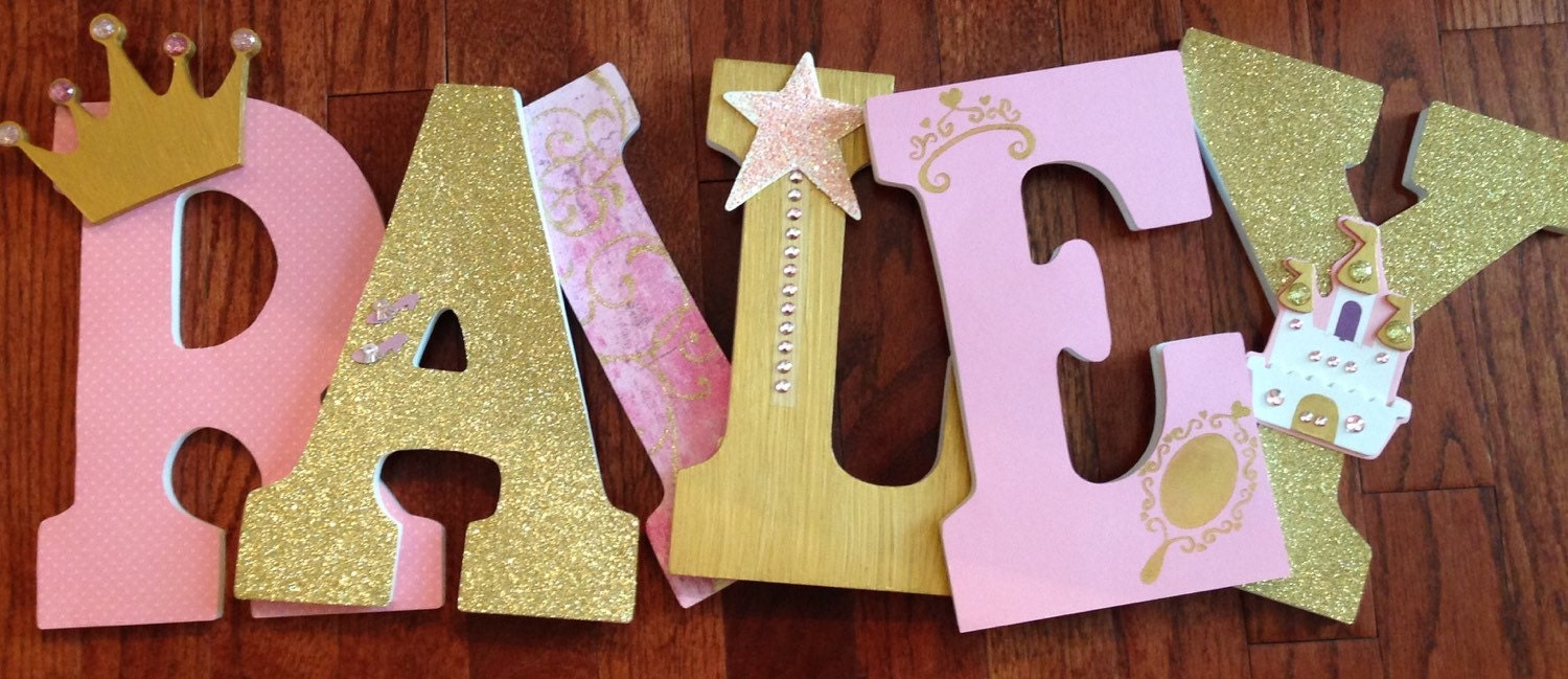 princess themed letters pink and gold letters letters for nursery custom wood letters girls room decor princess wall l