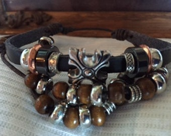 Stylish Brown leather muliple layer bracelet