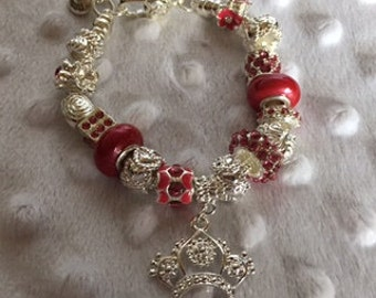 Sterling Silver charm bracelet with Red slide charms