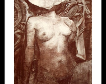 Original drawing of female nude, sepia drawing, contemporary art.