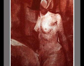 Original sanguine drawing, female nude drawing, contemporary art
