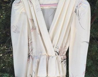 1970s V neck secretary dress, size medium