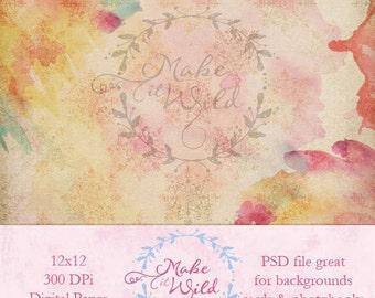 Watercolor Splash Digital Paper, Scrapbook Paper, Background, Photoshop, Photography, Paper Pack, Texture, PSD, Scrapbooking, Paper