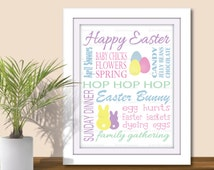Easter Subway Art - 3 Sizes 5x7, 8x10, 11x14 (PDF & JPEG) Digital Download, Word Art, Printable, Holiday Easter Wall Art, Spring decor