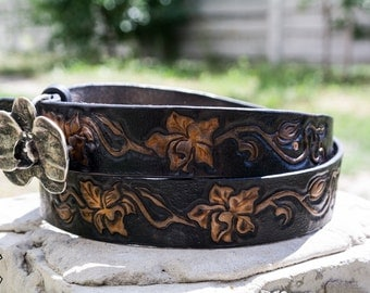 "Leather belt handmade ""Orchid"""