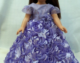 Orchid swirled roses gown
