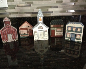 Small Buildings, Town Buildings, Wooden, Country Style Buildings, Christmas Ornaments