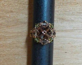 Swarovski Crystal Earth Tones Beaded Statement Ring