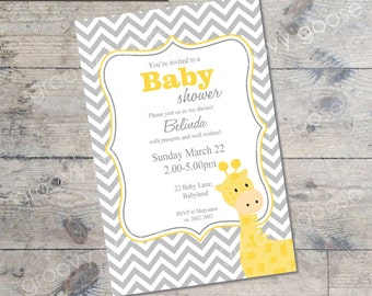 Chevron Giraffe Baby Shower invitation  (YELLOW) DIY Printable Baby shower Giraffe theme baby shower yellow baby shower invitation