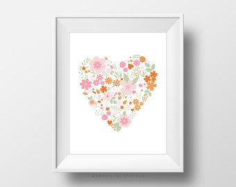 SALE -  Floral Heart, Flower Art, Baby Girl Nursery Print, Pink Print, Pink Poster, Flower Poster, Digital Print, Heart Wreath