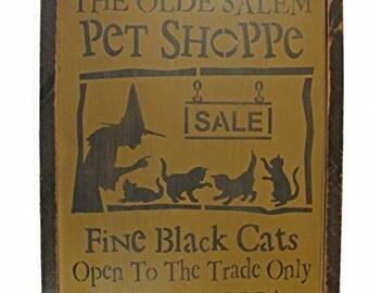 Halloween Olde Salem Pet Shop Distressed Wood Sign