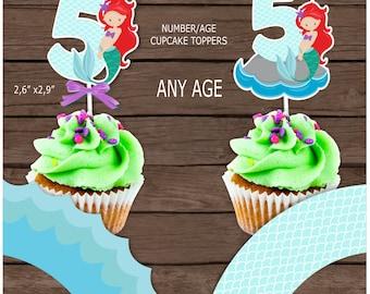 Mermaid age cupcake topper