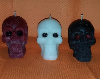 Skull Wax Candles, Solid Wax Skull Candles, White Skull Candle, Red Skull Candle, Black Skull Candle, Custom colors & scents