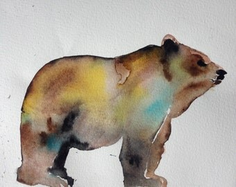 """Original Watercolour Painting """"Bear"""" on Fabriano Paper"""