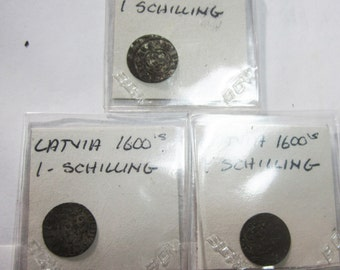 Lot of THREE Circa 1600's Latvia One Schilling Coins