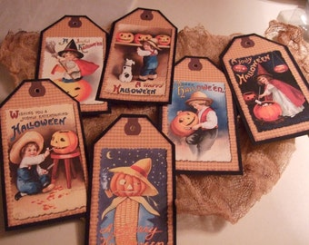 SIX Primitive Hang Tags Vintage Halloween Tags