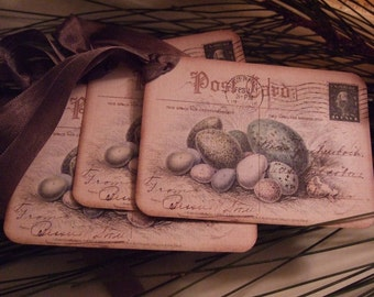 Vintage Nest Eggs Postcard Scrapbook Hang Tags Gift Tags