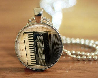 Accordion Sheet Music Pendant Keychain Necklace Jewelry