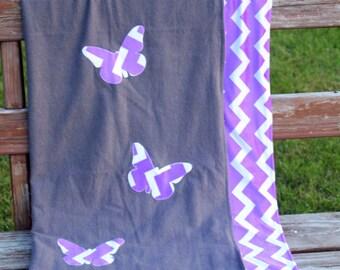 Butterfly Purple Chevron Flannel/Minky Baby Blanket