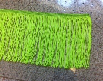 """6"""" Wide Lime Green Fringe By The Yard"""