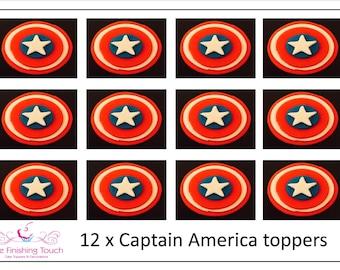 12 x Edible Fondant Captain America Superhero Birthday Cupcake/Cake Toppers