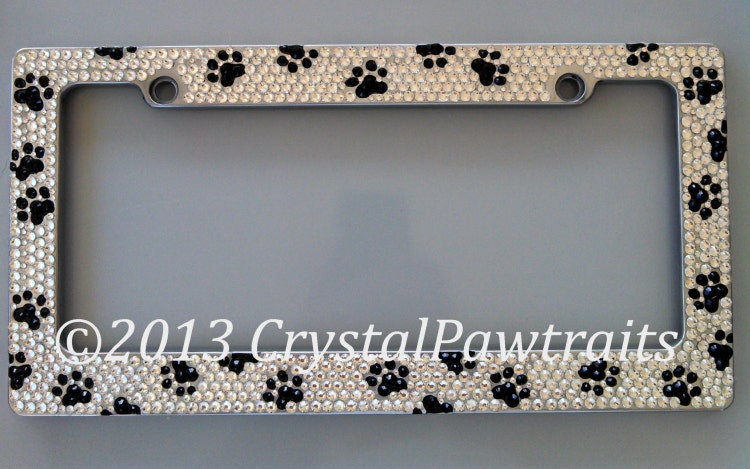 Crystal License Plate Frame Crystal Paw Print By