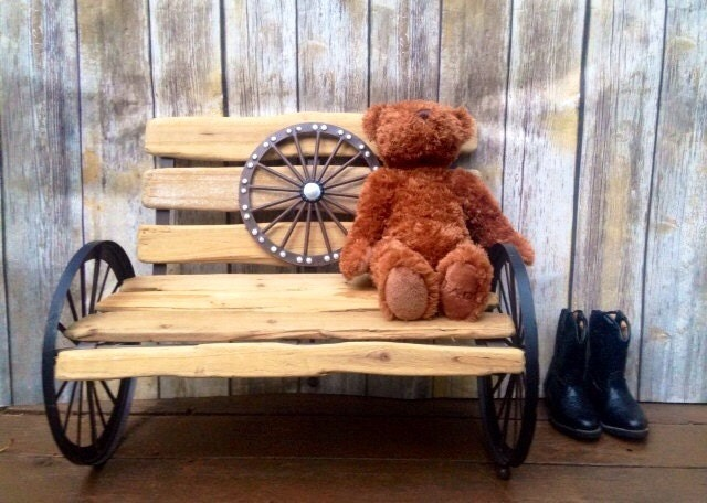Rustic Benches With Steel Wheels : Rustic kids wood wagon wheel bench by thevintageredeem on etsy